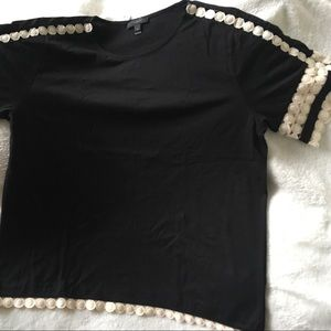 J crew black lace embroidered top